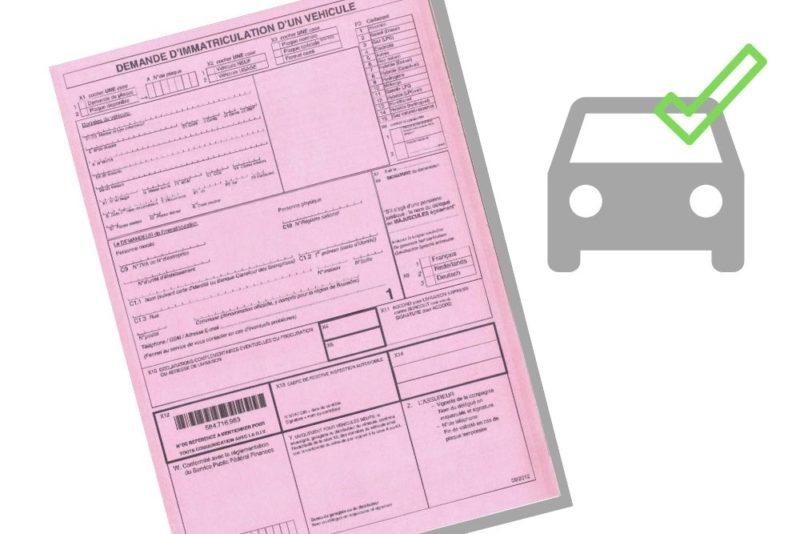 Formulaire de demande d'immatriculation d'un véhicule