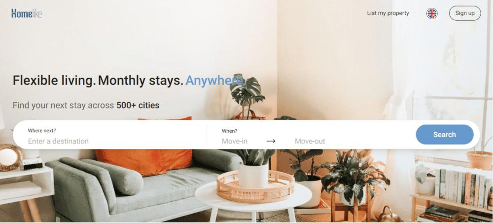 Aperçu de la page d'accueil du site Homelike pour les entreprises en recherche de logement temporaire sur Bruxelles